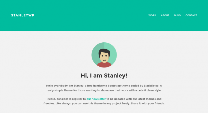 StanleyWP, one of our favorite simple WordPress themes.