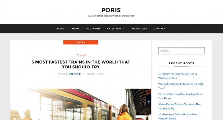Poris WordPress Theme Screenshot